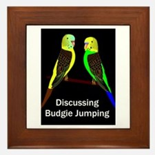 Budgies Discussing Budgie Jumping Framed Tile