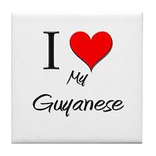 I Love My Guinea-Bissauan  Tile Coaster