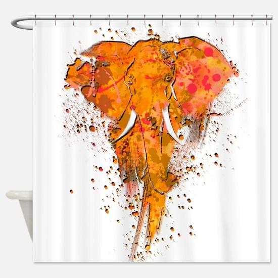 Artistic Elephant Art Shower Curtain