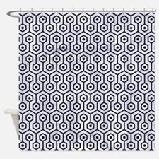 HXG1 BK-WH MARBLE (R) Shower Curtain
