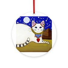 Beautiful White Egyptian CAT Ornament (Round)