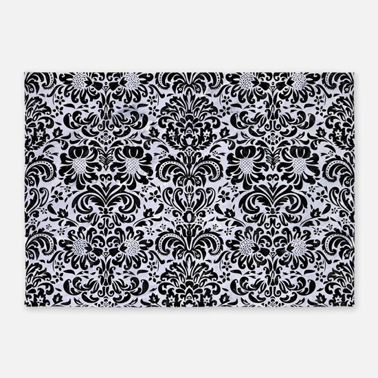 DMS2 BK-WH MARBLE (R) 5'x7'Area Rug