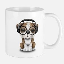 English Bulldog Puppy Dj Wearing Headphones and Gl