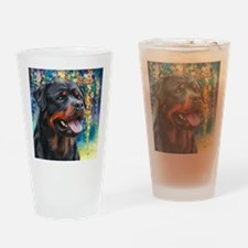 Rottweiler Painting Drinking Glass