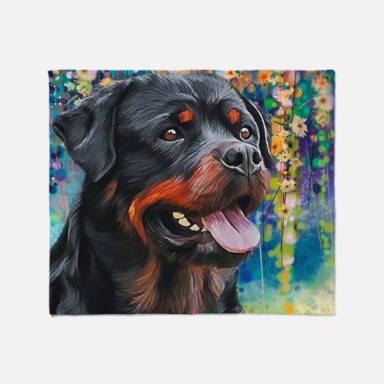Rottweiler Painting Throw Blanket