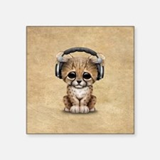 Cute Cheetah Cub Dj Wearing Headphones Sticker