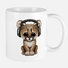 Cute Cougar Cub Dj Wearing Headphones Mugs