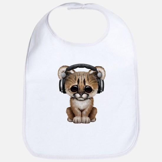Cute Cougar Cub Dj Wearing Headphones Bib