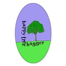 Happy Tree Hugger Oval Decal