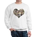 Many ferrets in heart sweatshirt