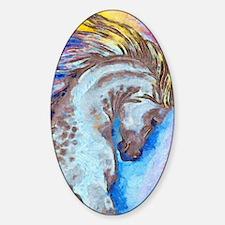 Cute Arabian horse running fine art watercolor painting Sticker (Oval)