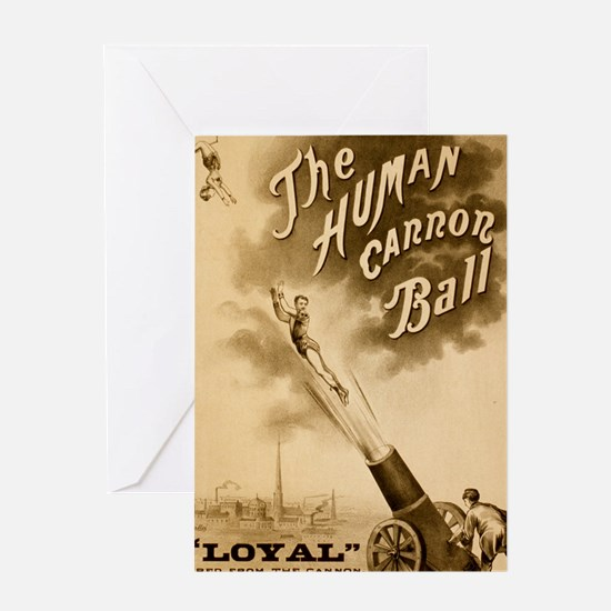 Human Cannon Ball Greeting Cards