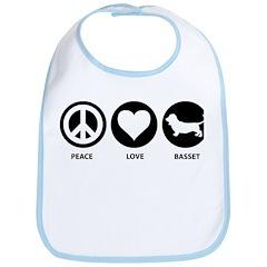 Peace Love Basset Hound Bib
