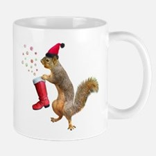 Squirrel Red Boot Mugs