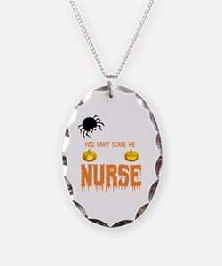 Funny Holiday nurse Necklace Oval Charm