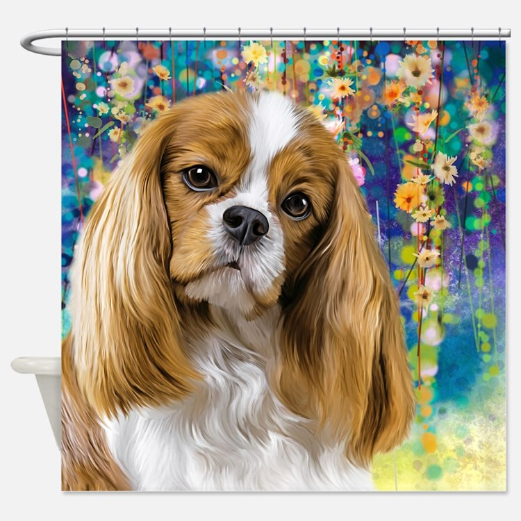 Cavalier King Charles Spaniel Painting Shower Curt