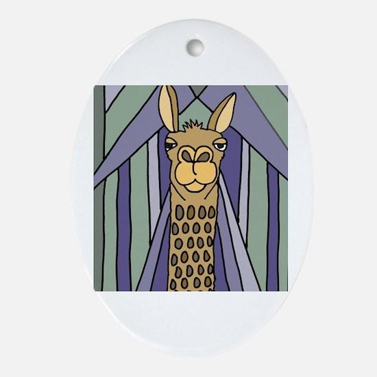 Cool Llama art Oval Ornament