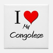 I Love My Congolese Tile Coaster