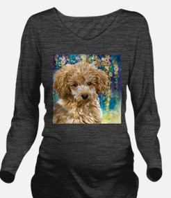 Poodle Painting Long Sleeve Maternity T-Shirt