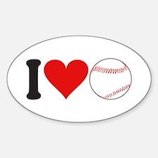 I Love Baseball (design) Oval Decal