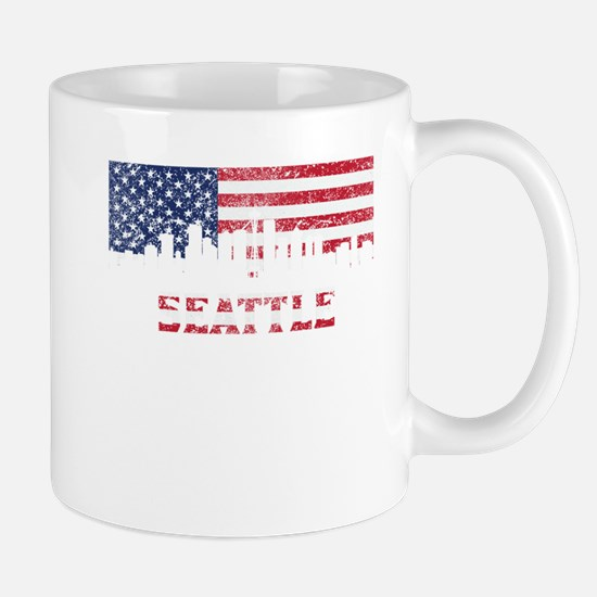 Seattle WA American Flag Skyline Mugs