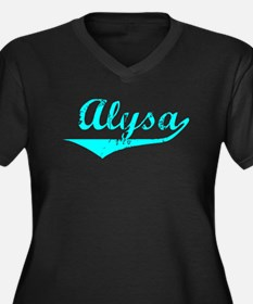 Alysa Vintage (Lt Bl) Women's Plus Size V-Neck Dar