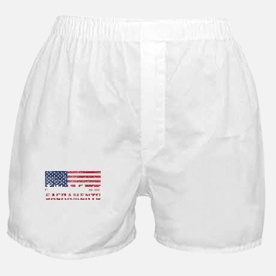 Sacramento CA American Flag Skyline Boxer Shorts