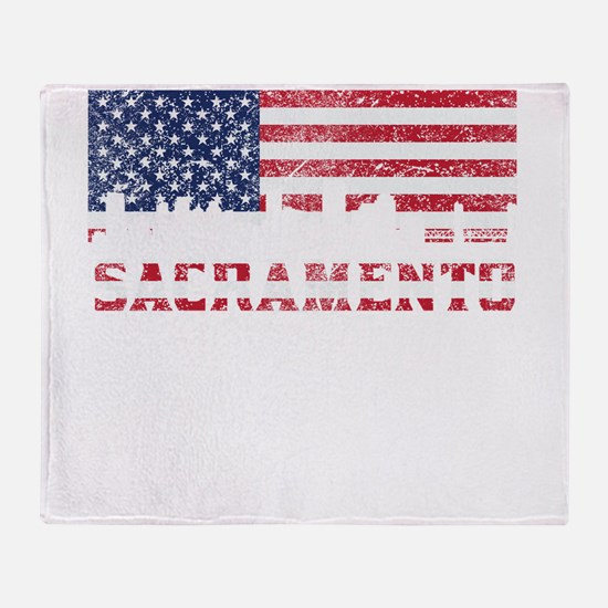 Sacramento CA American Flag Skyline Throw Blanket