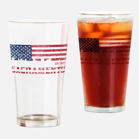 Sacramento CA American Flag Skyline Drinking Glass