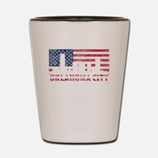 Oklahoma City OK American Flag Skyline Shot Glass