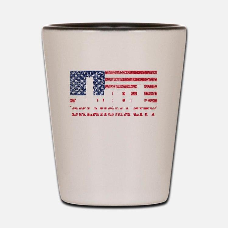 Oklahoma City OK American Flag Skyline Shot Glass