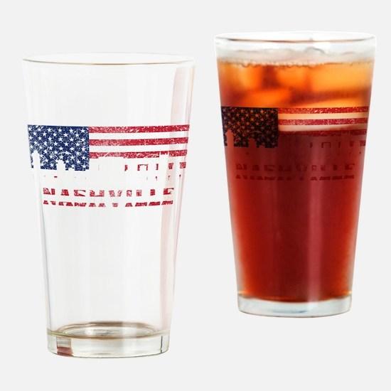 Nashville TN American Flag Skyline Drinking Glass
