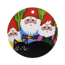 Garden Gnomes and Black CAT Ornament (Round)