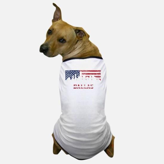Dallas TX American Flag Skyline Dog T-Shirt