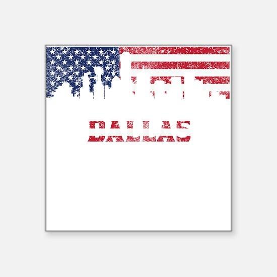 Dallas TX American Flag Skyline Sticker