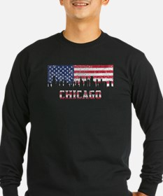 Chicago IL American Flag Skyline Long Sleeve T-Shi