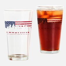 Charlotte NC American Flag Skyline Drinking Glass
