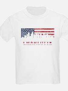 Charlotte NC American Flag Skyline T-Shirt