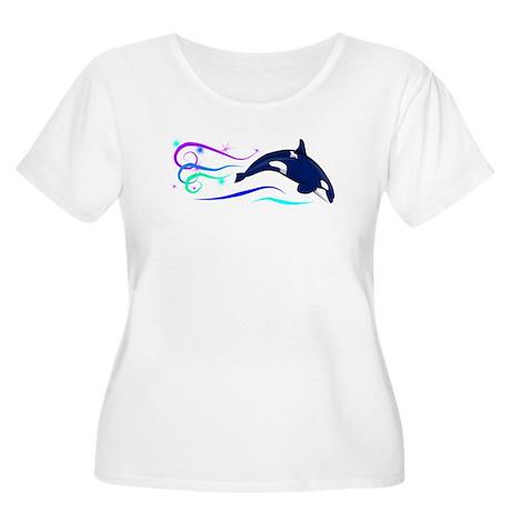 Orca Sparkle Women's Plus Size Scoop Neck T-Shirt