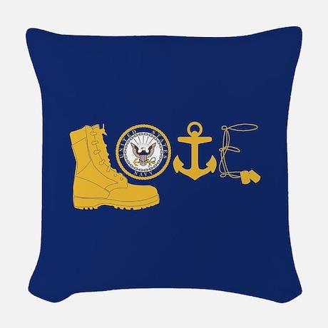 Navy Love Woven Throw Pillow  Throw Pillow