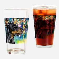 Doberman Painting Drinking Glass