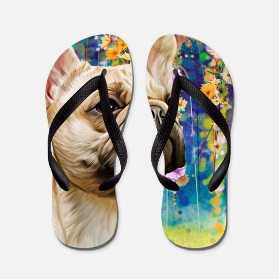 French Bulldog Painting Flip Flops