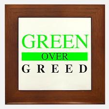 Green over Greed Framed Tile