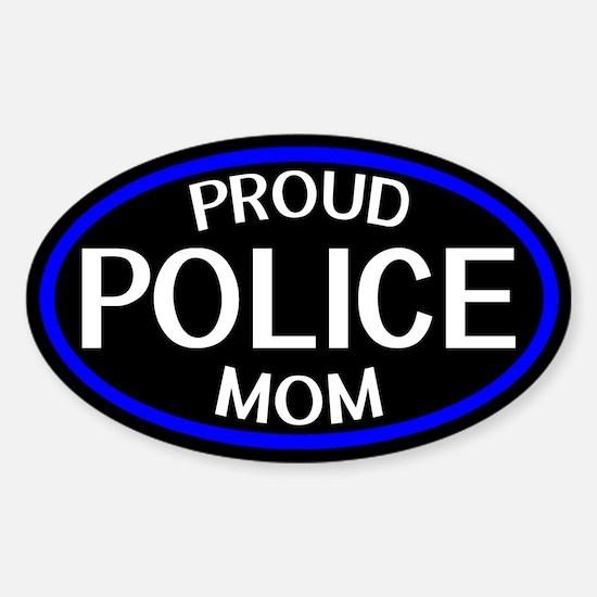 Police: Proud Mom (The Thin Blue Li Sticker (Oval)