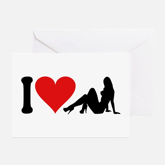 I Love Strippers (design) Greeting Cards (Pk of 10