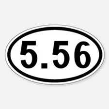 5.56 Ammo: Oval (Black & White) Sticker (Oval)