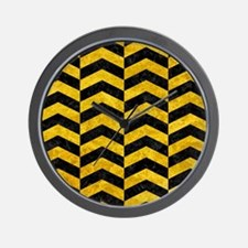 CHEVRON2 BLACK MARBLE & YELLOW MARBLE Wall Clock