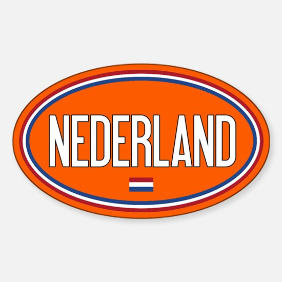 The Netherlands: Nederland Flag Oval (Orange) Stic