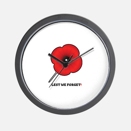 REMEMBRANCE POPPY - LEST WE FORGET! Wall Clock