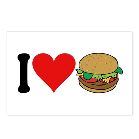 I Love Hamburgers (design) Postcards (Package of 8